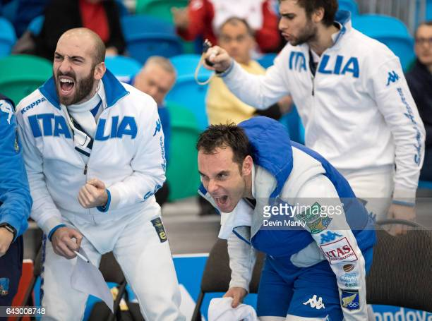 Andrea Santarelli Paolo Pizzo and Enrico Garozzo of Italy celebrate a point during team competition at the Peter Bakonyi Senior Men's Epee World Cup...