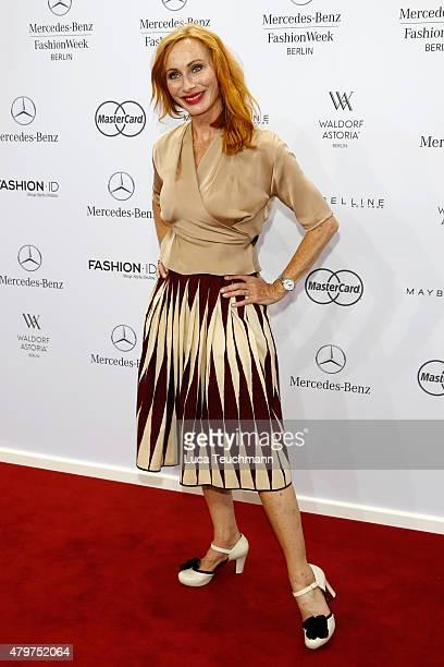 Andrea Sawatzki attends the Lena Hoschek show during the MercedesBenz Fashion Week Berlin Spring/Summer 2016 at Brandenburg Gate on July 7 2015 in...