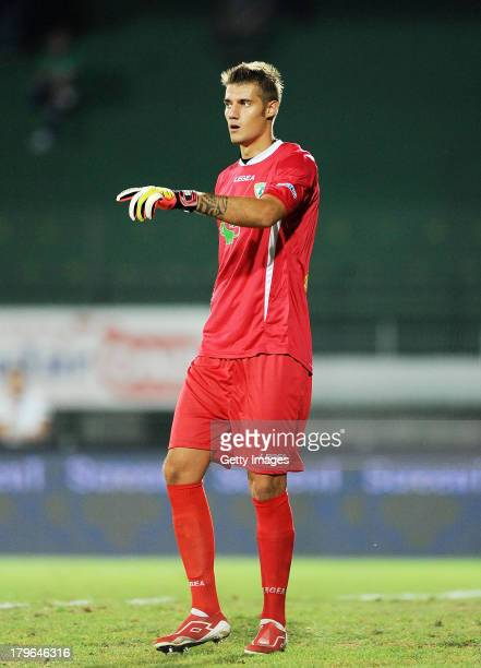 Andrea Seculin of Avellino in action during the Serie B match between AS Avellino and Novara at PartenioAdriano Lombardi Stadium August 2013 in...