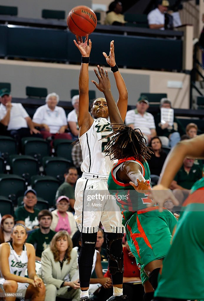 Andrea Smith #21 of the South Florida Bulls shoots against the Florida A&M Rattlers during the game at the Sun Dome on December 29, 2012 in Tampa, Florida.