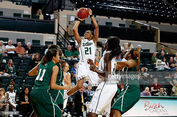 Andrea Smith of the South Florida Bulls shoots against the Stetson Hatters during the game at the Sun Dome on November 10 2012 in Tampa Florida