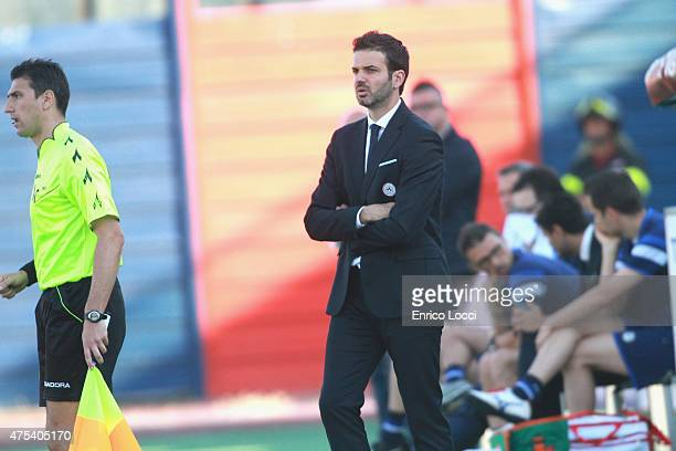 Andrea Stramaccioni coach of Udinese looks on during the Serie A match between Cagliari Calcio and Udinese Calcio at Stadio Sant'Elia on May 31 2015...