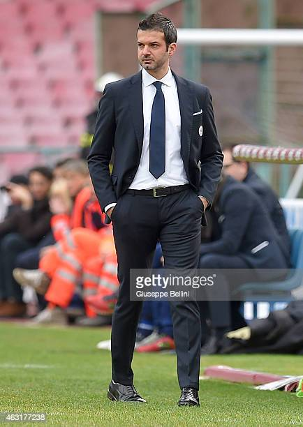 Andrea Stramaccioni head coach of Udinese during the Serie A match between SSC Napoli and Udinese Calcio at Stadio San Paolo on February 8 2015 in...