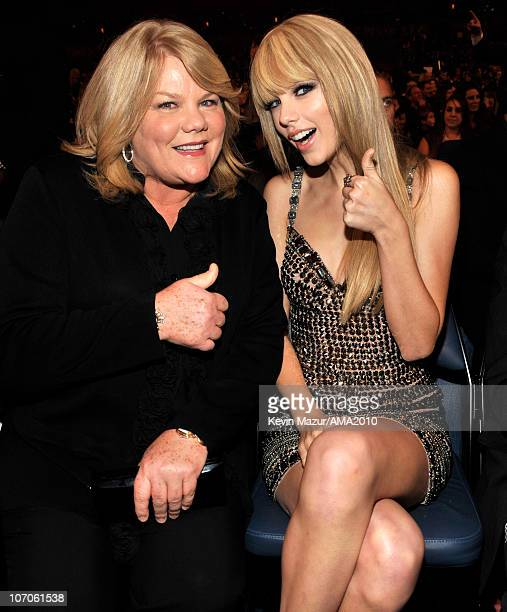Andrea Swift and Taylor Swift in the audience at the 2010 American Music Awards held at Nokia Theatre LA Live on November 21 2010 in Los Angeles...