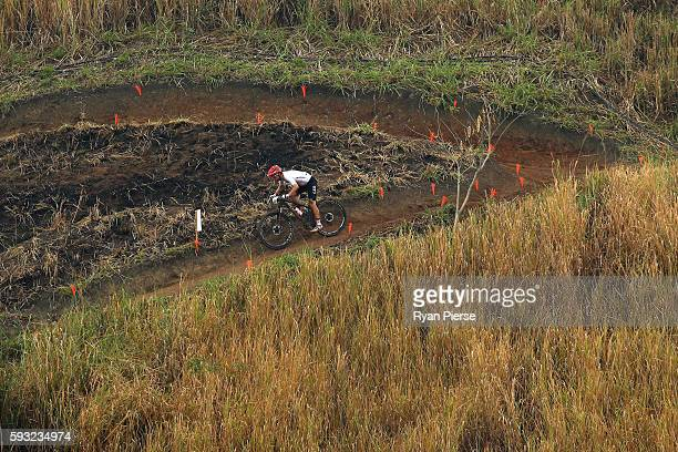 Andrea Tiberi of Germany rides during the Men's CrossCountry on Day 16 of the Rio 2016 Olympic Games at Mountain Bike Centre on August 21 2016 in Rio...