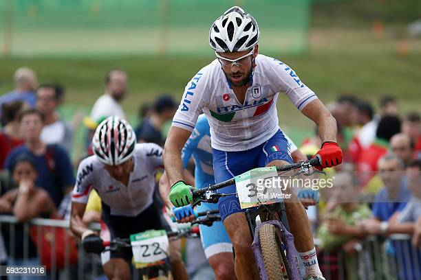 Andrea Tiberi of Italy rides during the Men's CrossCountry on Day 16 of the Rio 2016 Olympic Games at Mountain Bike Centre on August 21 2016 in Rio...