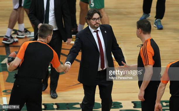 Andrea Trincheri Head Coach of Brose Bamberg greets the referees during the 2016/2017 Turkish Airlines EuroLeague Regular Season Round 22 game...