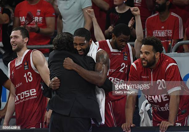 Andrea Trinchieri and Bradley Wanamaker hug during the final minutes during game three of the 2016 BBL Finals between Brose Baskets and ratiopharm...