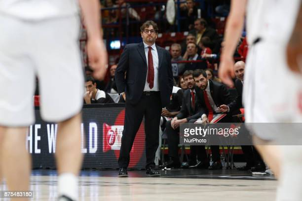 Andrea Trinchieri during a game of Turkish Airlines EuroLeague basketball between AX Armani Exchange Milan vs Brose Bamberg at Mediolanum Forum on...