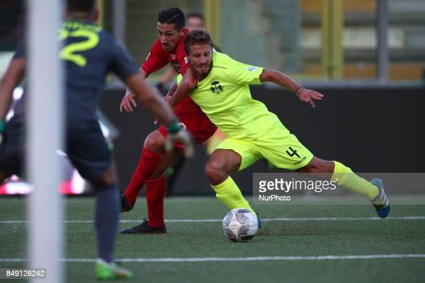 Andrea Venturini of FC Ravenna Calcio stop the action of Ciro Foggia of Teramo Calcio 1913 during the Lega Pro 17/18 group B match between Teramo...