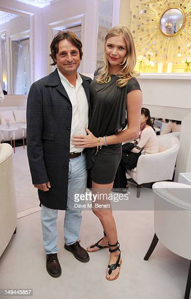 Andrea Vianini and Jodie Kidd attend the private opening of OMEGA House OMEGA's official residence during the London 2012 Olympic Games at the House...