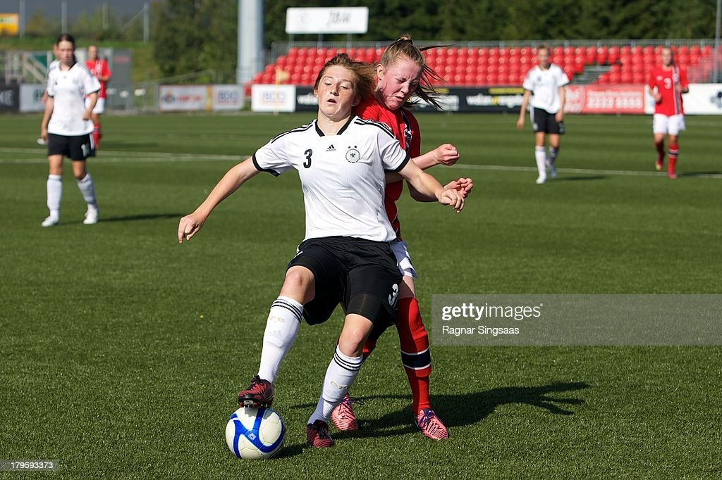 Andrea Viehl of Germany in action during the Girls Friendly match between Norway U16 and Germany U16 at the UKI Arena on September 5, 2013 in Jessheim, Norway.