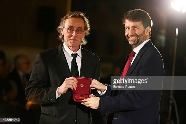 Andrea Vitali and Minister of Culture Dario Franceschini attend the Vittorio De Sica 2015 Awards Ceremony at Palazzo Barberini on November 26 2015 in...