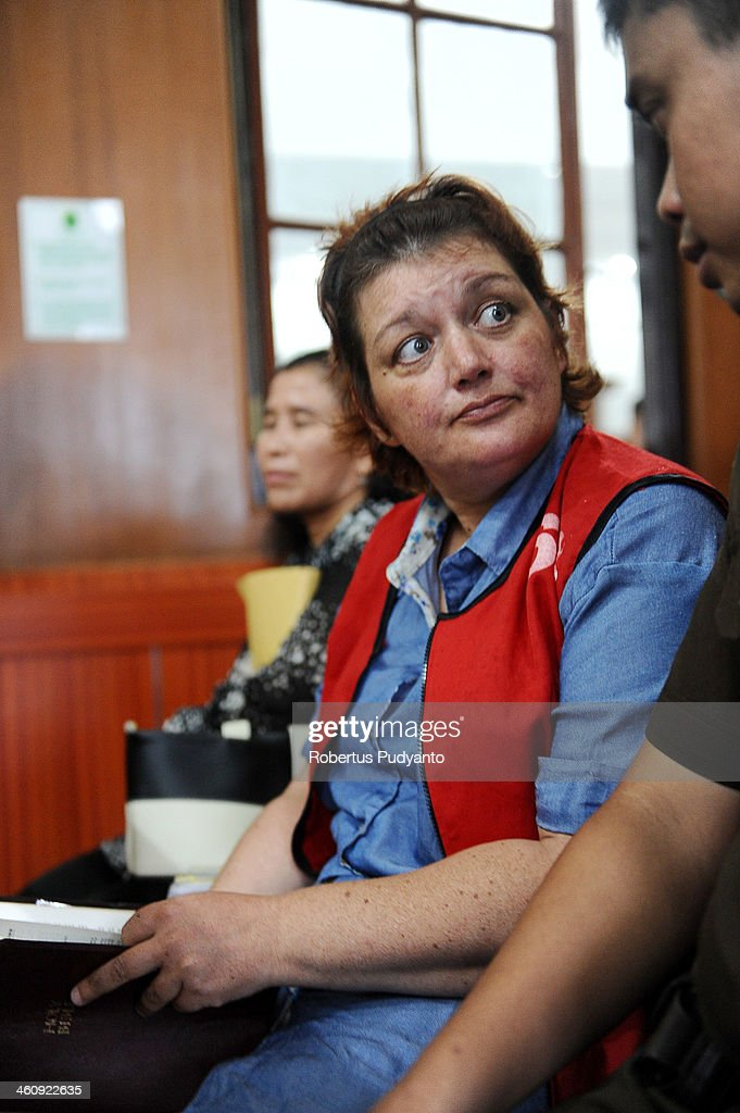 Andrea Waldeck of Britain (43) waits in court at a hearing for drug trafficking charges on January 6, 2014 in Surabaya, Indonesia. Prosecutors are seeking a 16-year prison term and a fine of around £100,000 for Andrea Waldeck, who has admitted trafficking crystal meth into the country from China and previously faced the possibility of a death sentence. The former PCSO with Gloucestershire Police had pleaded guilty to the offence after being arrested in April in possession of 3lb of methamphetamine crystals hidden in her underwear.