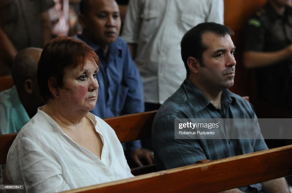 Andrea Waldeck's mother and brother wait in court at a hearing for drug trafficking charges on January 6, 2014 in Surabaya, Indonesia. Prosecutors are seeking a 16-year prison term and a fine of around £100,000 for Andrea Waldeck, who has admitted trafficking crystal meth into the country from China and previously faced the possibility of a death sentence. The former PCSO with Gloucestershire Police had pleaded guilty to the offence after being arrested in April in possession of 3lb of methamphetamine crystals hidden in her underwear.