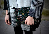 Andrea wears vintage handbag Zara sweater and Parfois shoes on day 4 of '080 Barcelona Fashion Week 2015 Fall/Winter' February 5 2015 in Barcelona...