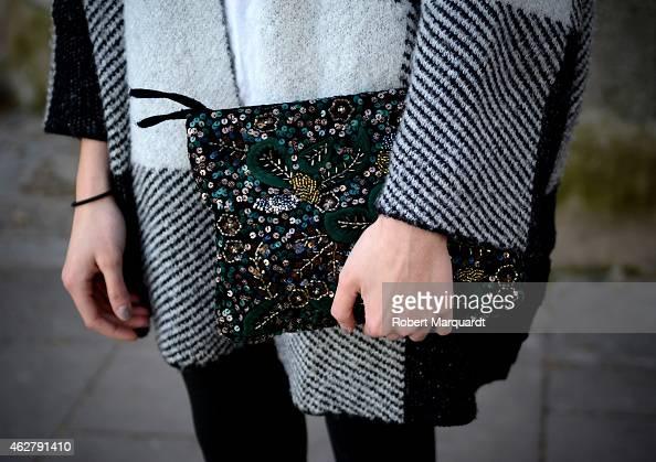 Andrea wears vintage handbag Zara sweater and Parfois shoes on day 4 of '080 Barcelona Fashion Week 2015 Fall/Winter' February 5 2015 in Barcelona...