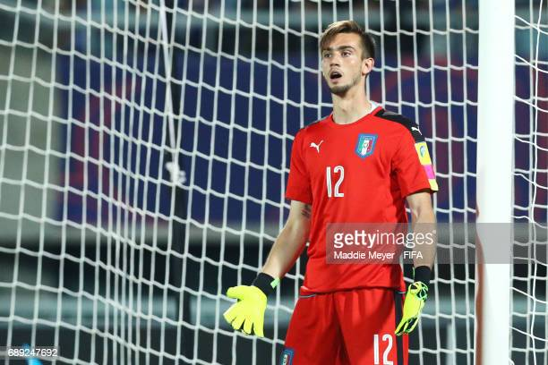 Andrea Zaccagno of Italy reacts during the FIFA U20 World Cup Korea Republic 2017 group D match between Japan and Italy at Cheonan Baekseok Stadium...