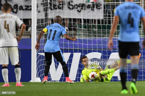 Andrea Zaccagno of Italy saves the penalty of Nicolas De La Cruz during the FIFA U20 World Cup Korea Republic 2017 group D match between Italy and...