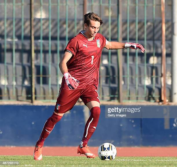 Andrea Zaccagno of Italy U19 in action during the international friendly match between Italy U19 and Republic of Ireland U19 on September 7 2015 in...