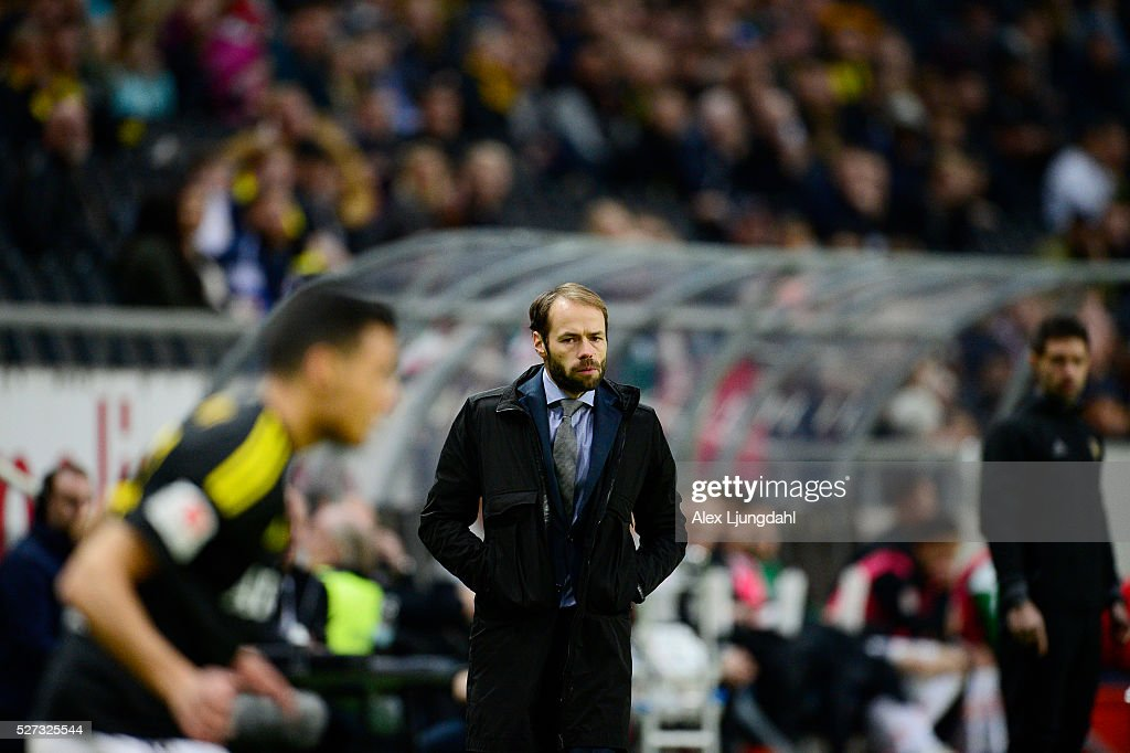 Andreas Alm, head coach of AIK during the allsvenskan match between AIK and Jonkkoping Sodra IF at Friends arena on May 2, 2016 in Solna, Sweden.