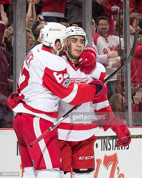 Andreas Athanasiou of the Detroit Red Wings celebrates his second period goal with teammate Thomas Vanek during an NHL game against the Boston Bruins...
