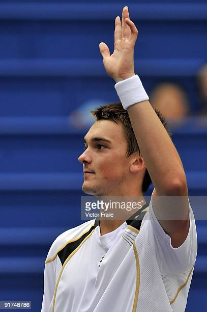 Andreas Beck of Germany acknowledges the crowd after his match against Jose Acasuso of Argentina during day one of the 2009 Shanghai ATP Masters 1000...