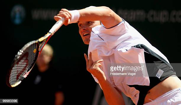 Andreas Beck of Germany in action during his match against Eduardo Schwank of Argentina during day four of the ARAG World Team Cup at the Rochusclub...