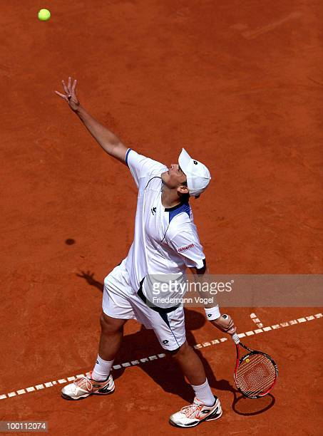 Andreas Beck of Germany in action during his match against Filip Krajinovic of Serbia during day six of the ARAG World Team Cup at the Rochusclub on...