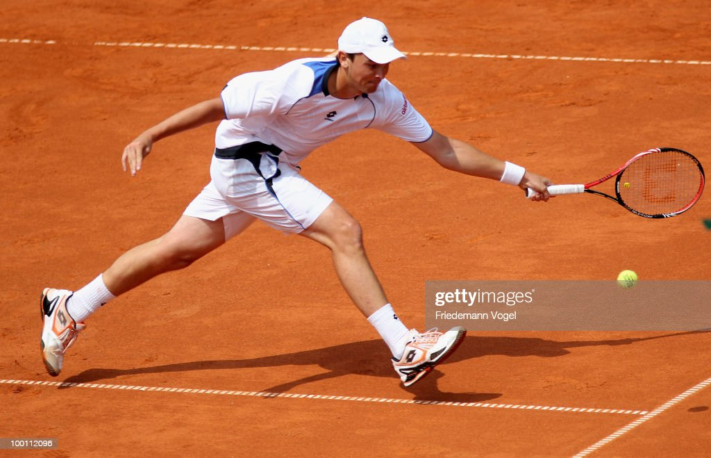 Andreas Beck of Germany in action during his match against Filip Krajinovic of Serbia during day six of the ARAG World Team Cup at the Rochusclub on May 21, 2010 in Duesseldorf, Germany.