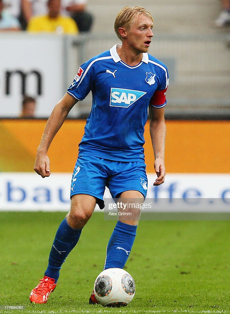 Andreas Beck of Hoffenheim controles the ball during the Bundesliga match between 1899 Hoffenheim and SC Freiburg at Wirsol Rhein-Neckar-Arena on August 24, 2013 in Sinsheim, Germany.