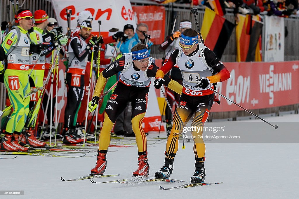 Andreas Birnbacher Erik Lesser of Germany takes 2nd place during the IBU Biathlon World Cup Men's Relay on January 09 2014 in Ruhpolding Germany