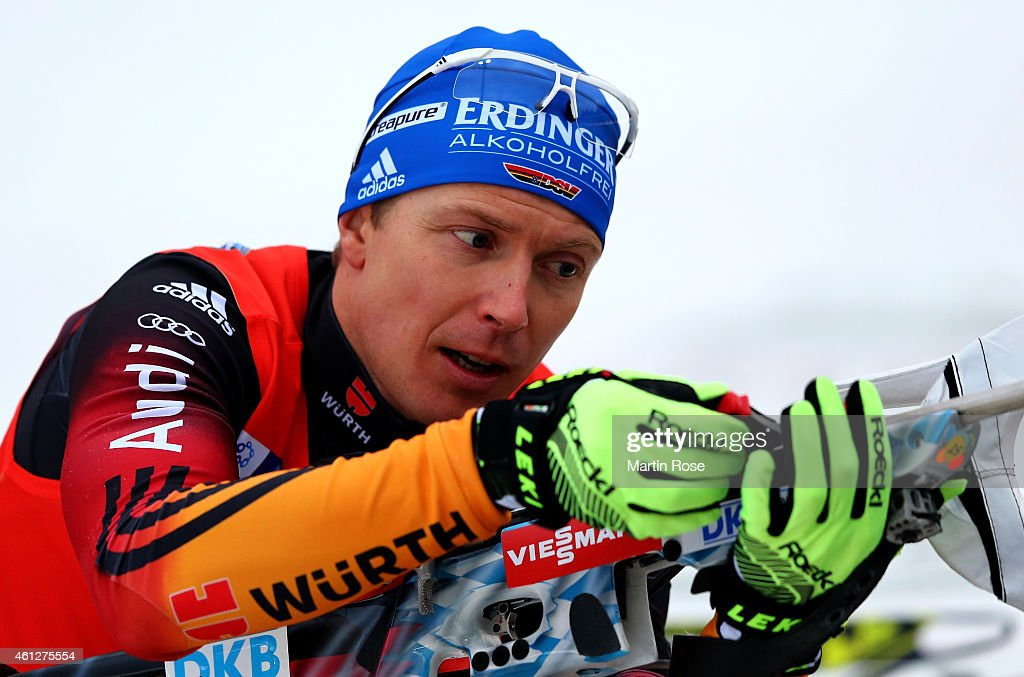 Andreas Birnbacher of Germany at the zeoring for the Men's 10 km sprint of the BMW World Cup on January 10 2015 in Oberhof Germany
