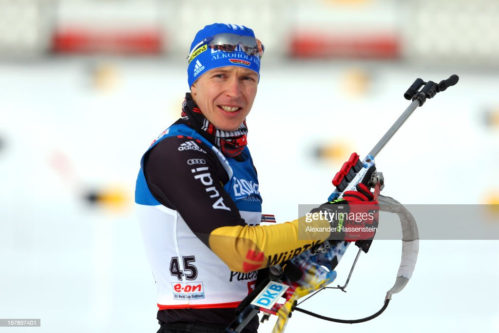 Andreas Birnbacher of Germany at the zeoring for the men's 10km sprint event during the IBU Biathlon World Cup on December 7, 2012 in Hochfilzen, Austria.