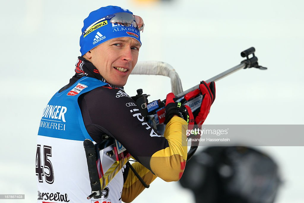 <a gi-track='captionPersonalityLinkClicked' href=/galleries/search?phrase=Andreas+Birnbacher&family=editorial&specificpeople=2092383 ng-click='$event.stopPropagation()'>Andreas Birnbacher</a> of Germany at the zeoring for the men's 10km sprint event during the IBU Biathlon World Cup on December 7, 2012 in Hochfilzen, Austria.