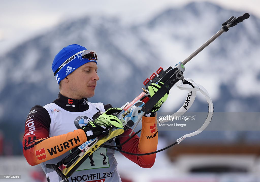 Andreas Birnbacher of Germany at the zeoring for the Men's 4 x 75 km relay event in the IBU Biathlon World Cup on December 13 2014 in Hochfilzen...