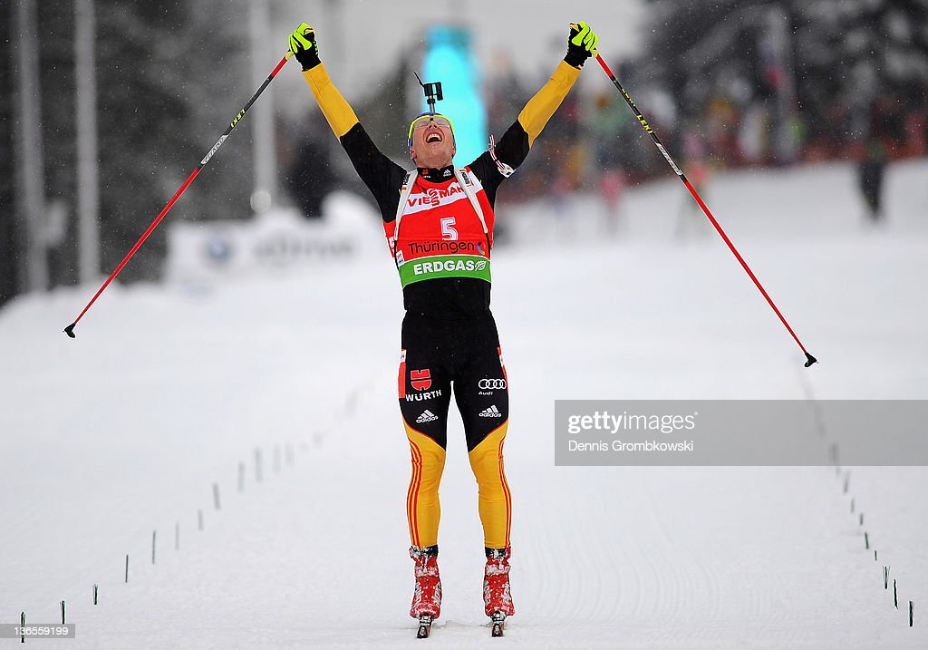 <a gi-track='captionPersonalityLinkClicked' href=/galleries/search?phrase=Andreas+Birnbacher&family=editorial&specificpeople=2092383 ng-click='$event.stopPropagation()'>Andreas Birnbacher</a> of Germany celebrates after winning the IBU World Cup Biathlon Oberhof Men's 15km Mass Start race at DKB Ski Arena on January 8, 2012 in Oberhof, Germany.