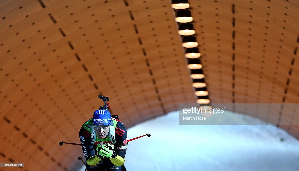 Andreas Birnbacher of Germany competes during an offical training session at Vysocina Arena on February 6 2013 in Nove Mesto na Morave Czech Republic