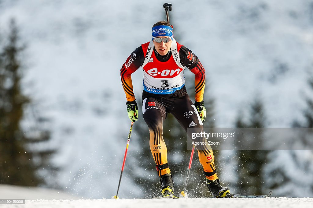 Andreas Birnbacher of Germany competes during the IBU Biathlon World Cup Men's and Women's Pursuit on December 14 2014 in Hochfilzen Austria