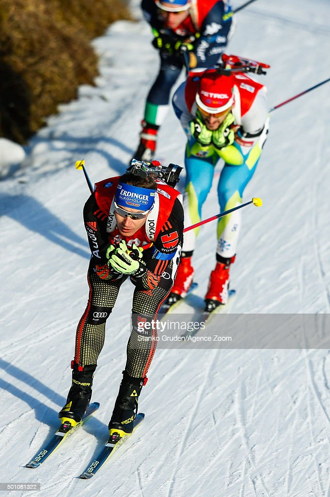Andreas Birnbacher of Germany competes during the IBU Biathlon World Cup Men's and Women's Pursuit on December 12 2015 in Hochfilzen Austria
