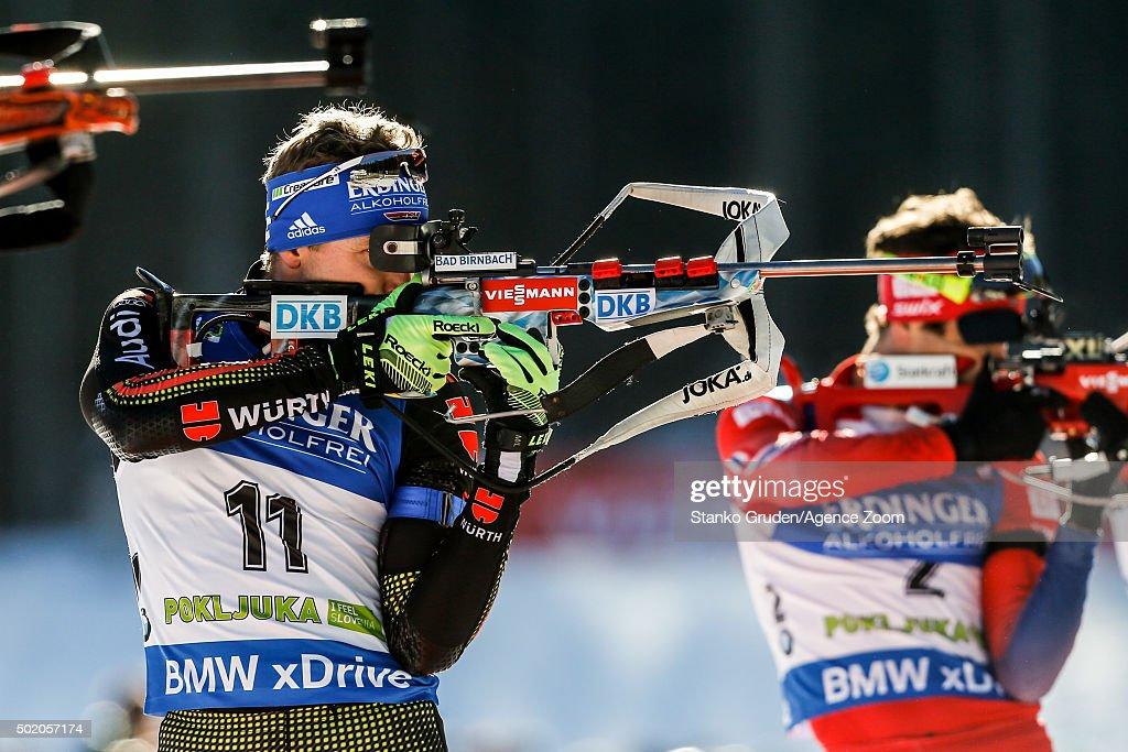Andreas Birnbacher of Germany competes during the IBU Biathlon World Cup Men's and Women's Mass Start on December 20 2015 in Pokljuka Slovenia
