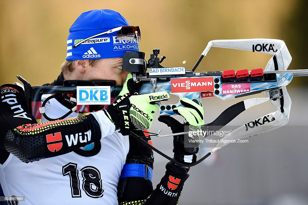 Andreas Birnbacher of Germany competes during the IBU Biathlon World Cup Men's and Women's Sprint on January 8 2016 in Ruhpolding Germany