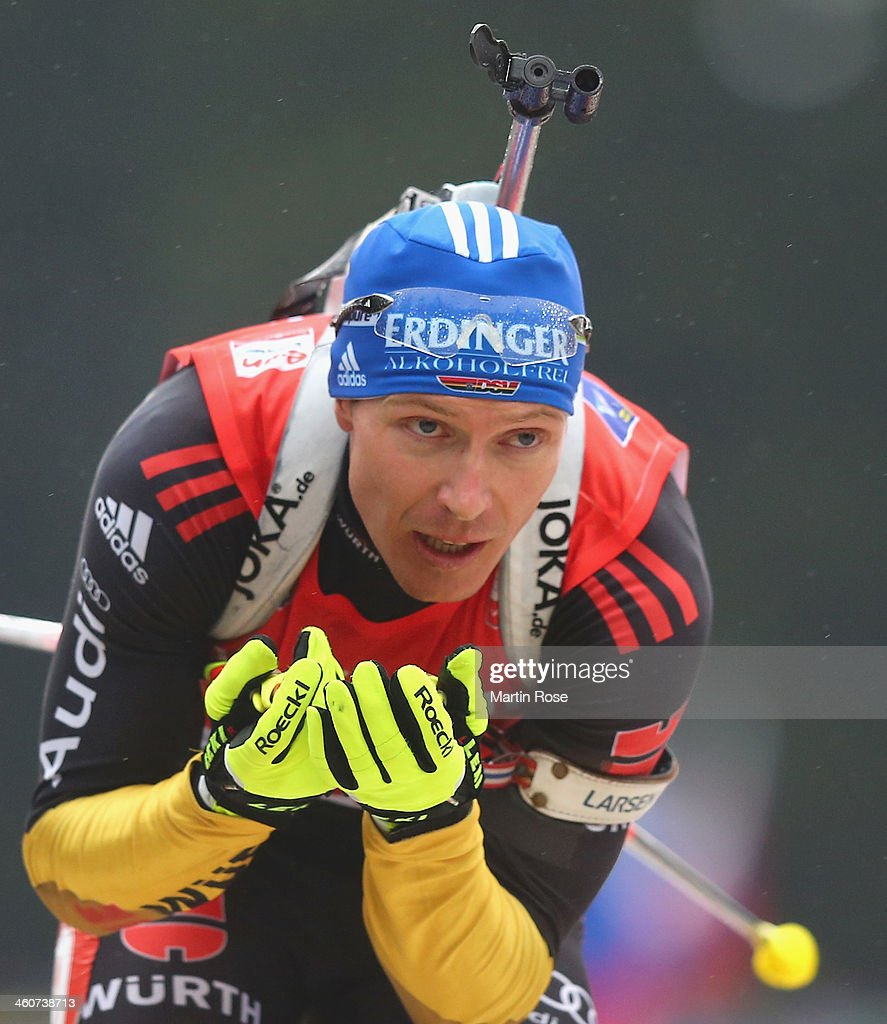 Andreas Birnbacher of Germany competes in the men's 15km mass start during the IBU Biathlon World Cup on January 5 2014 in Oberhof Germany