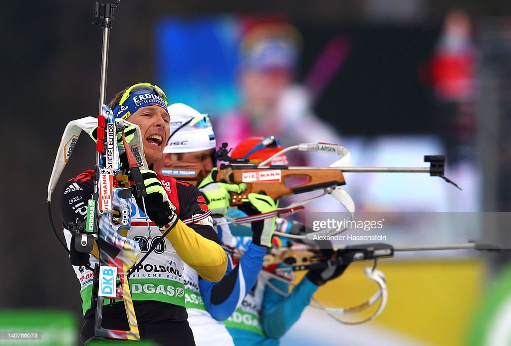 Andreas Birnbacher of Germany competes in the Men's 20km Individual during the IBU Biathlon World Championships at Chiemgau Arena on March 6 2012 in...