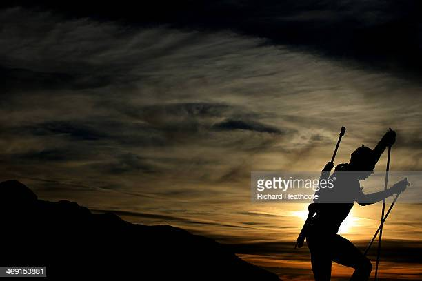 Andreas Birnbacher of Germany competes in the Men's Individual 20 km during day six of the Sochi 2014 Winter Olympics at Laura Crosscountry Ski...