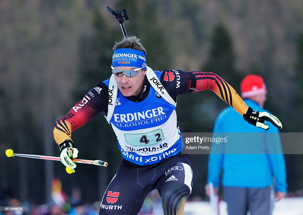 Andreas Birnbacher of Germany completes his shooting and goes to the lead during the IBU Biathlon World Cup Men's Relay on January 15 2015 in...