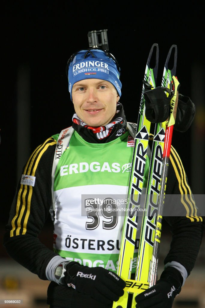 Andreas Birnbacher of Germany during the Flower Ceremony after the Men's 10 km Sprint the EON Ruhrgas IBU Biathlon World Cup on December 5 2009 in...