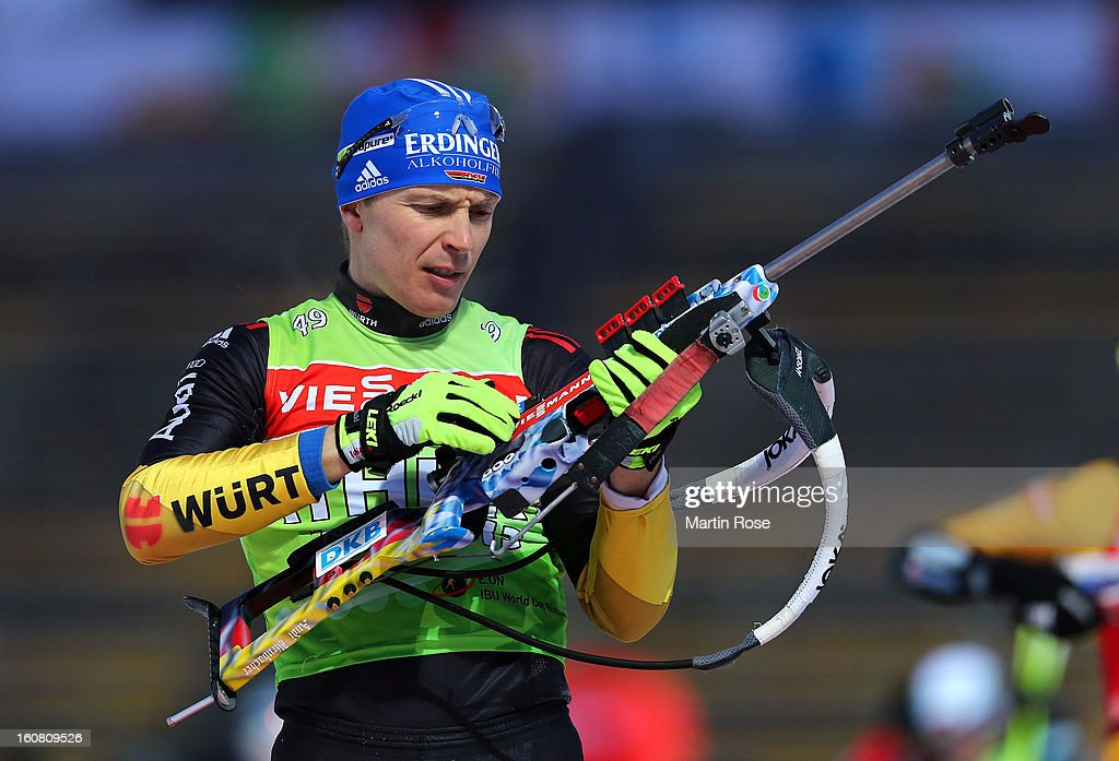 Andreas Birnbacher of Germany looks during an offical training session at Vysocina Arena on February 6, 2013 in Nove Mesto na Morave, Czech Republic.