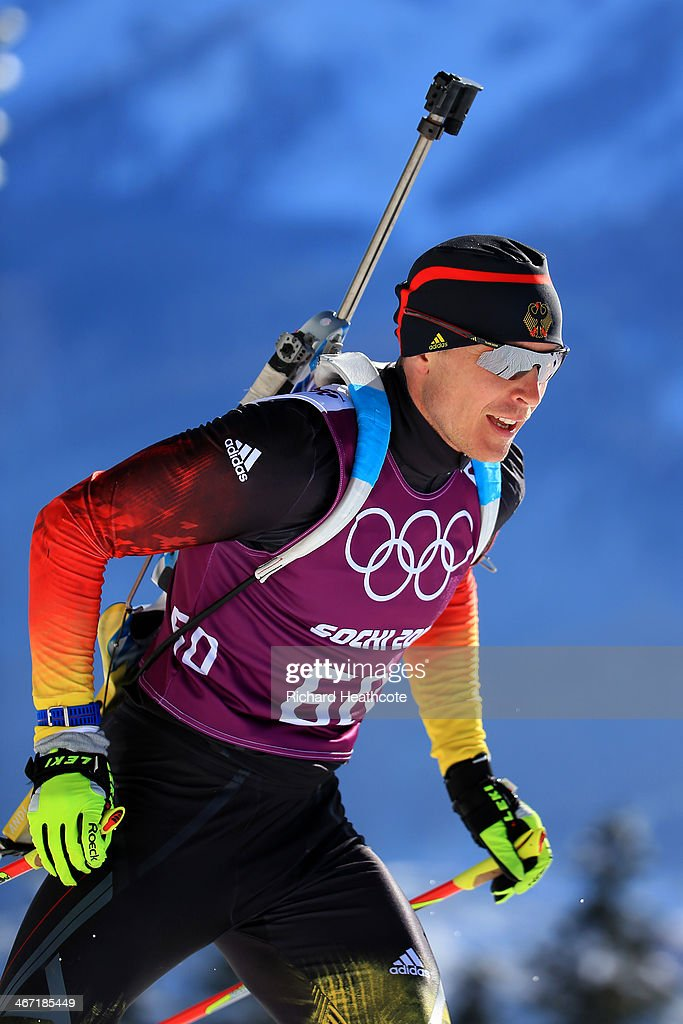 Andreas Birnbacher of Germany practices during a biathlon training session ahead of the Sochi 2014 Winter Olympics at the Laura CrossCountry Ski and...