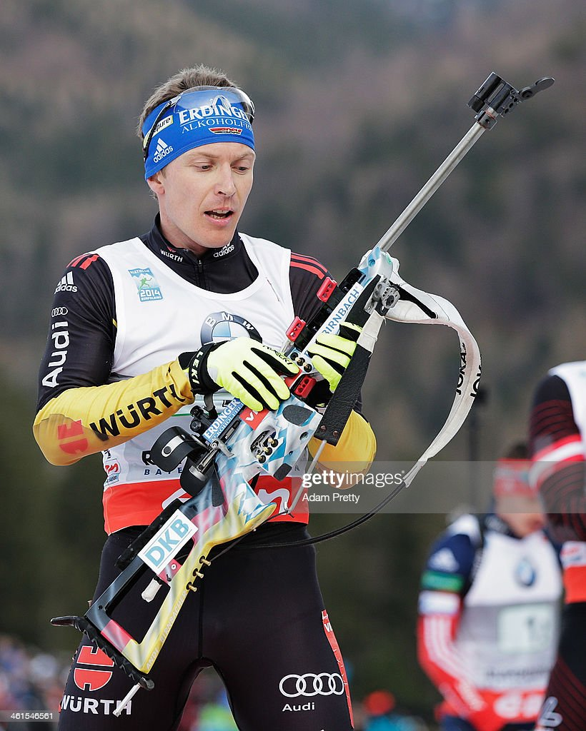 Andreas Birnbacher of Germany prepares to shoot during the men's 4x75km relay on day two of the EOn IBU World Cup Biathlonon January 9 2014 in...